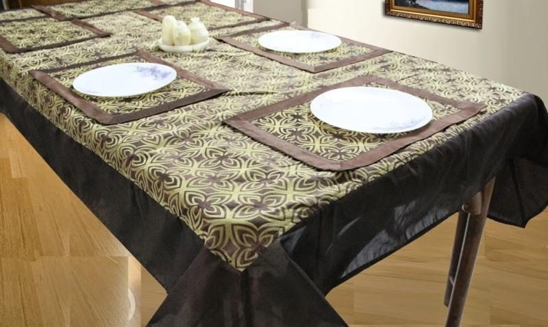 Dekor World Brown, Beige Polyester Table Linen Set(Pack of 9)