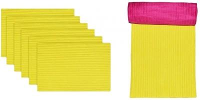 meSleep Yellow, Pink Silk Table Linen Set(Pack of 8)
