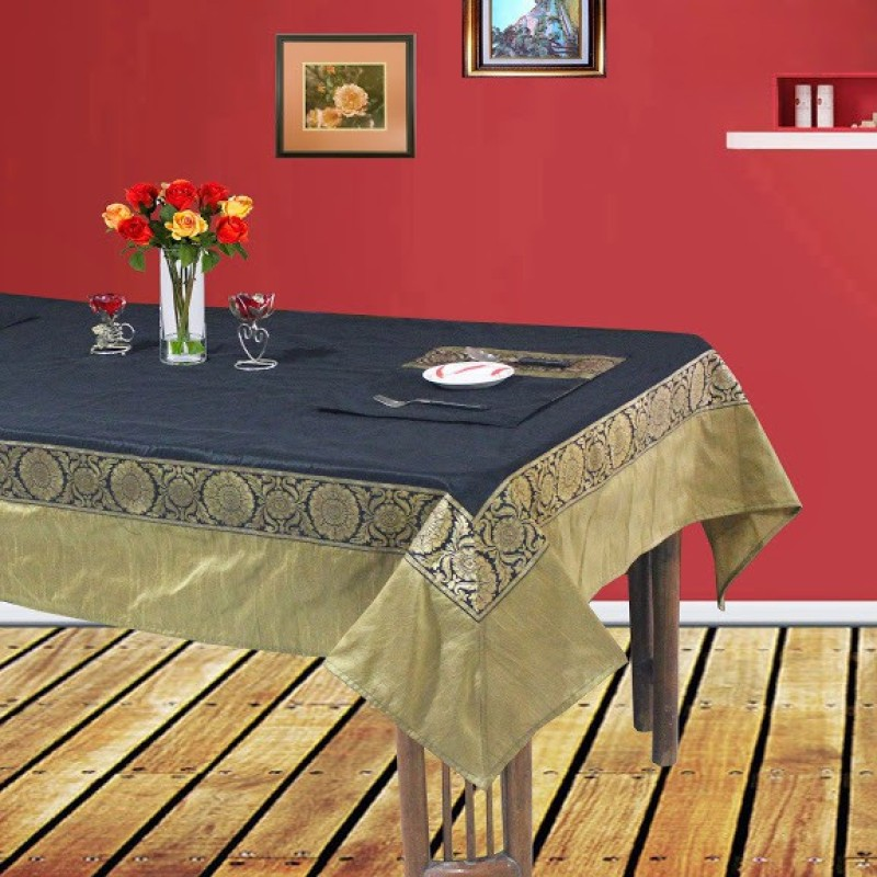 Dekor World Black, Gold Polyester Table Linen Set(Pack of 9)