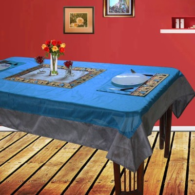 Dekor World Blue, Silver Polyester Table Linen Set(Pack of 9)