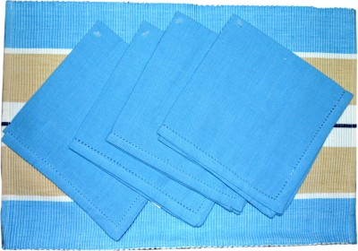 Mandhania Blue, Brown Organic Cotton Table Linen Set
