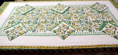 Kismat Collection Light Green Organic Cotton Table Linen Set(Pack of 1)