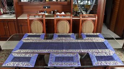 Lal Haveli Blue Silk Table Linen Set(Pack of 7) at flipkart