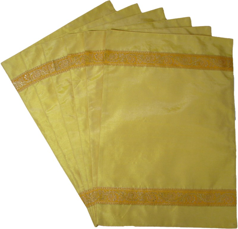Home Shine Yellow Polyester Table Linen Set(Pack of 6)