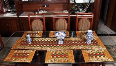 Lal Haveli Yellow Silk Table Linen Set(Pack of 7) at flipkart