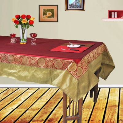 Dekor World Maroon, Gold Polyester Table Linen Set(Pack of 9)