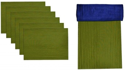 meSleep Green, Blue Silk Table Linen Set(Pack of 8)
