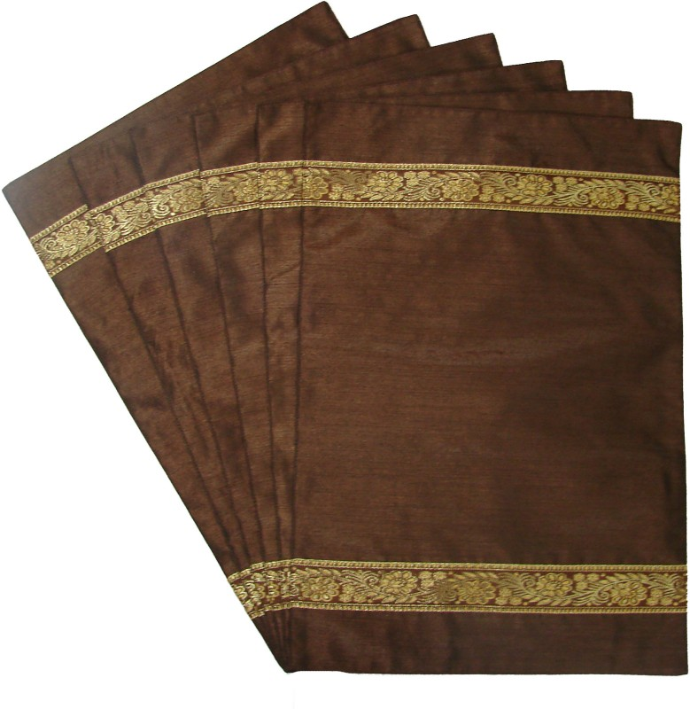 Home Shine Brown Polyester Table Linen Set(Pack of 6)