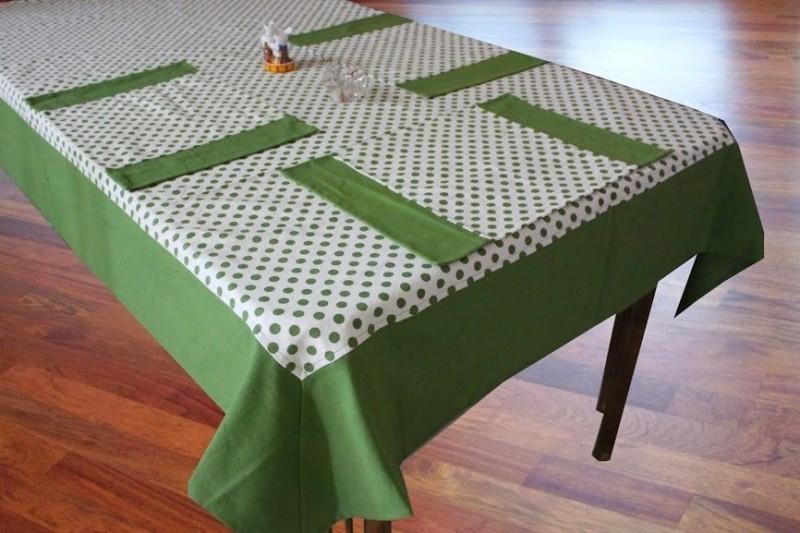 Dekor World Green Organic Cotton Table Linen Set(Pack of 7)