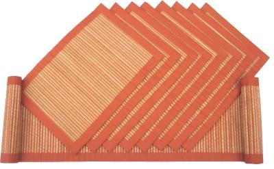 Rhapsody Decor Orange, Beige Organic Cotton Table Linen Set(Pack of 9)