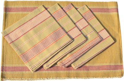 Mandhania Brown, Red Organic Cotton Table Linen Set(Pack of 8)