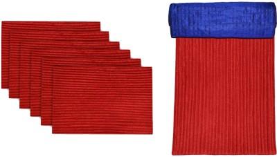 meSleep Red, Blue Silk Table Linen Set(Pack of 8)