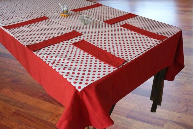 Dekor World Red Organic Cotton Table Linen Set(Pack of 5)