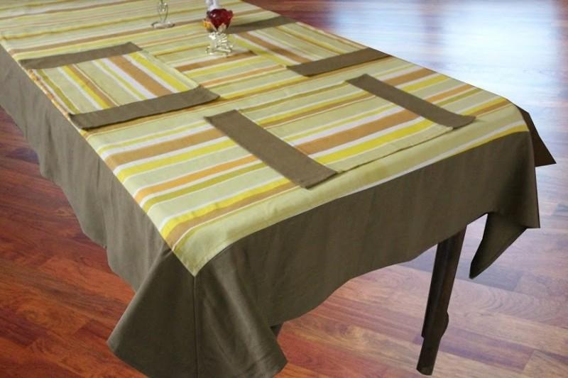 Dekor World Yellow Organic Cotton Table Linen Set(Pack of 5)