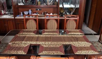 Lal Haveli Maroon Silk Table Linen Set(Pack of 7) at flipkart