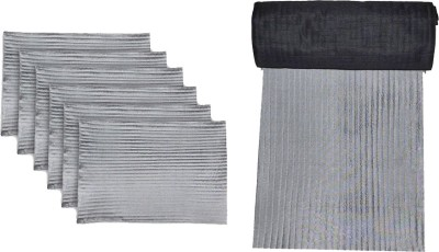 meSleep Grey, Black Silk Table Linen Set(Pack of 7)