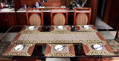 Lal Haveli Brown Silk Table Linen Set(Pack of 7) at flipkart