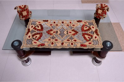 Nonch Le Red, Brown, Beige Polyester Table Linen Set(Pack of 3) at flipkart