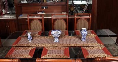 Lal Haveli Red Silk Table Linen Set(Pack of 7) at flipkart