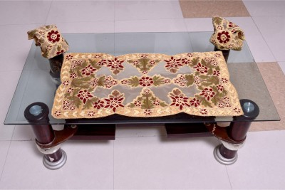 Nonch Le Beige, Red, Brown Polyester Table Linen Set(Pack of 3) at flipkart