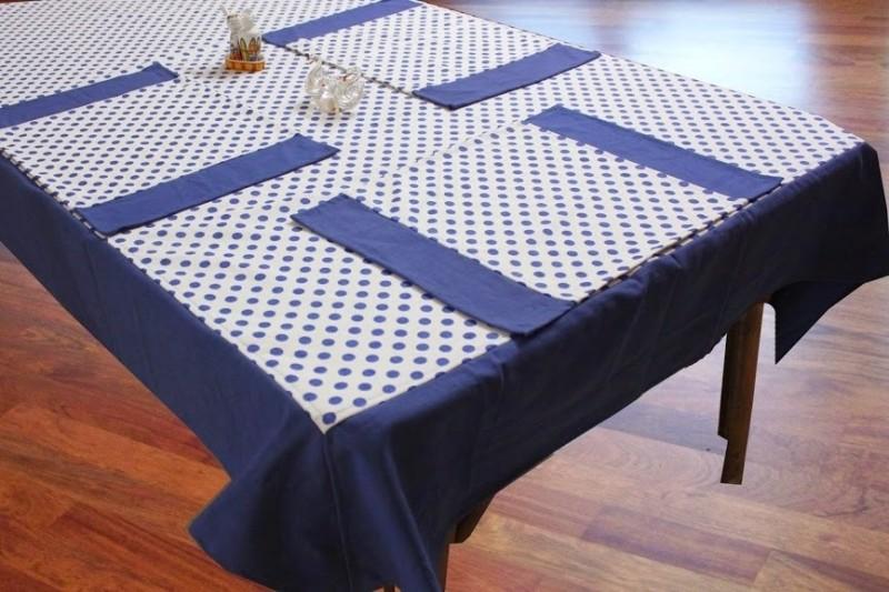 Dekor World Blue Organic Cotton Table Linen Set(Pack of 5)