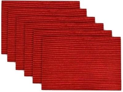 meSleep Red Silk Table Linen Set(Pack of 6)