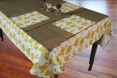 Dekor World Yellow Organic Cotton Table Linen Set