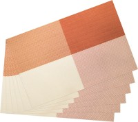 Idrape Rectangular Pack of 6 Table Placemat(Orange, PVC)
