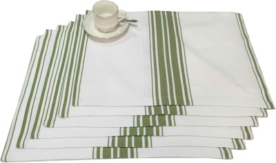 Milano Home Rectangular Pack of 6 Table Placemat(Green, White, Cotton) at flipkart