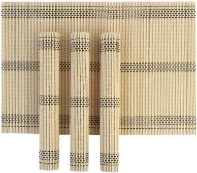 HOKIPO Rectangular Pack of 4 Table Placemat(Beige, Natural Bamboo) at flipkart