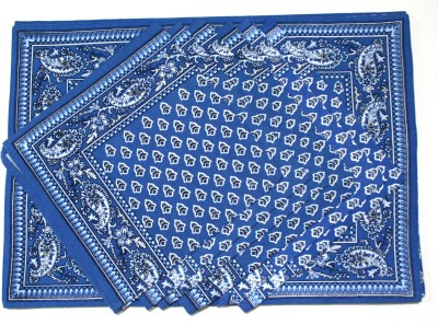 Raghuraj Lifestyle Rectangular Pack of 12 Table Placemat(Blue, Cotton)