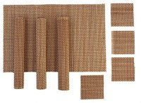 HOKIPO Rectangular Pack of 8 Table Placemat(Brown, Natural Bamboo)