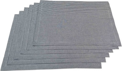 Milano Home Rectangular Pack of 6 Table Placemat(Blue, White, Cotton) at flipkart