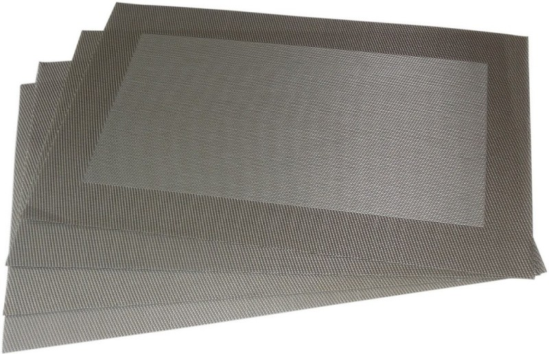 Decorika Rectangular Pack of 4 Table Placemat(Silver, Polyester, PVC)