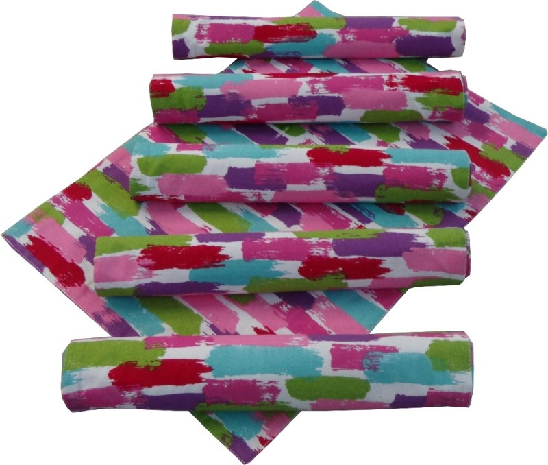 Adt Saral Rectangular Pack of 6 Table Placemat(Multicolor, Cotton)