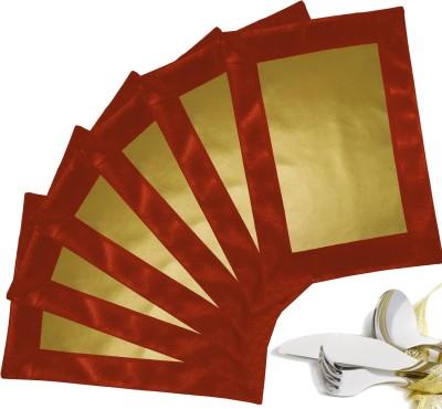 Zikrak Exim Rectangular Pack of 6 Table Placemat(Gold, Peach, Leather) at flipkart