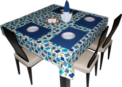 Aagaman Fashion Square Pack of 4 Table Placemat(Blue, Cotton) at flipkart