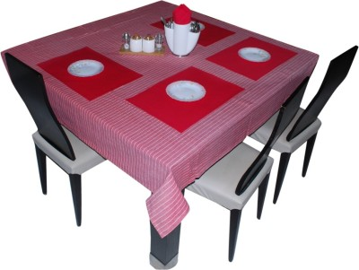 Aagaman Fashion Square Pack of 4 Table Placemat(Red, Cotton) at flipkart