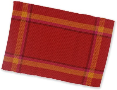 Dhrohar Rectangular Pack of 1 Table Placemat(Red, Cotton)