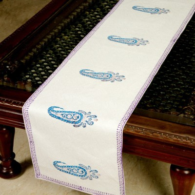 Jodhaa White, Blue 71 cm Table Runner