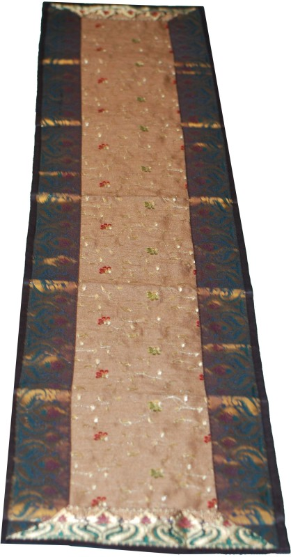 Ancient India Brown, Beige 184 cm Table Runner(Silk)
