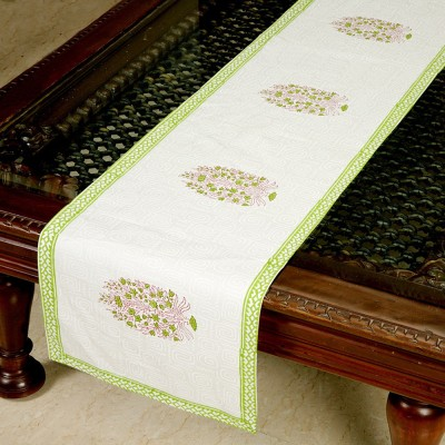 Jodhaa White, Light Green 71 cm Table Runner