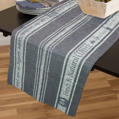 R home Grey 45 cm Table Runner(Cotton)