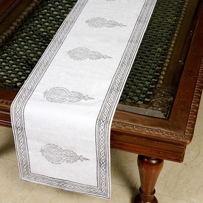 Jodhaa White, Grey 71 cm Table Runner