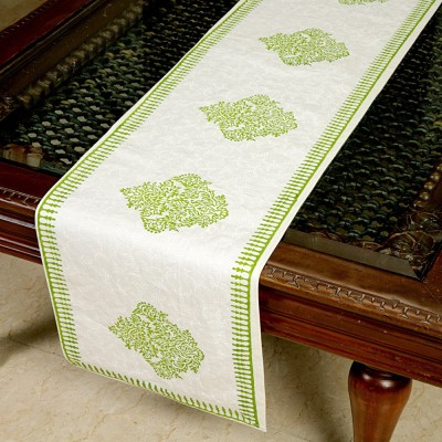 Jodhaa White, Green 71 cm Table Runner