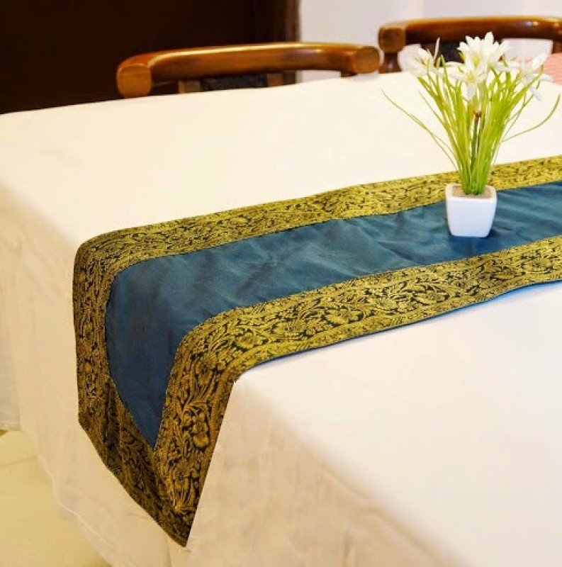Indha Craft Green 182.9 cm Table Runner(Polyester)