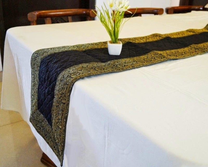 Indha Craft Black 182.9 cm Table Runner(Polyester)
