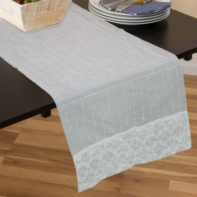 R home Grey 40 cm Table Runner(Cotton)