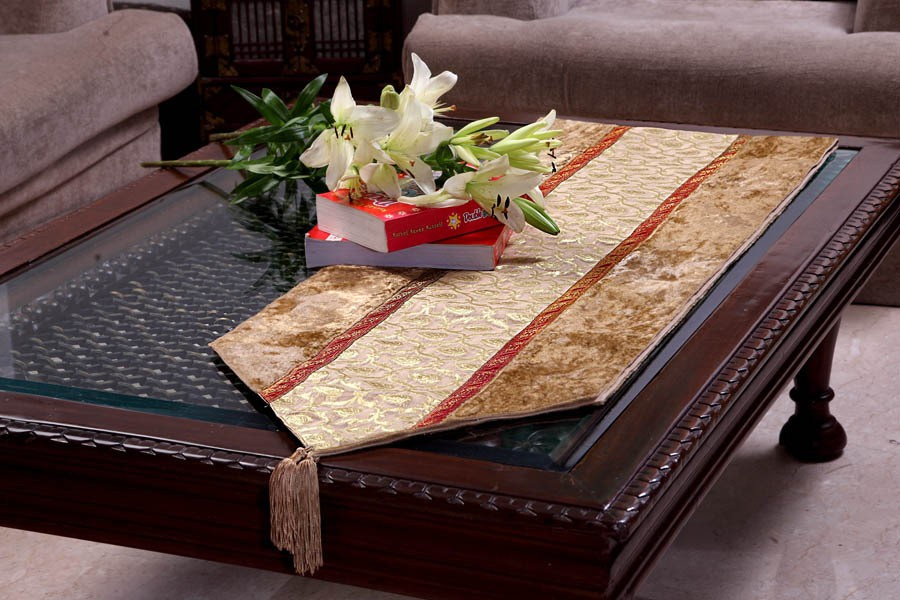 Jodhaa Gold 220.98 cm Table Runner