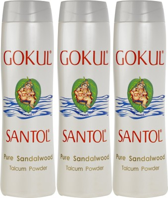 Gokul Pure Sandalwood Talcum Powder (Pack of 3)(300 g)